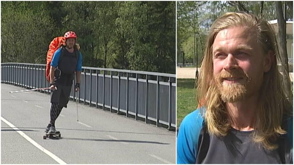 två bilder på en kille med ryggsäck och stavar på longboard, samt porträttbild på killen