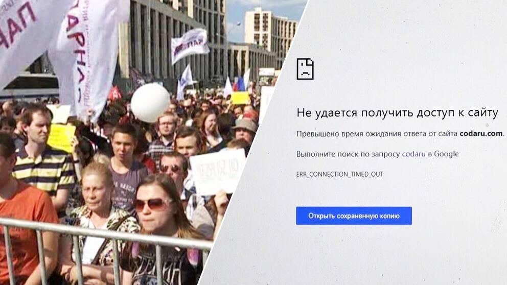 Ryska demonstranter och en webbsida som inte kan laddas.