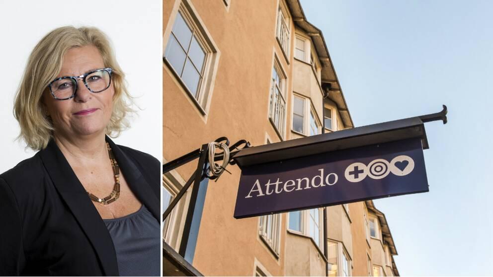 Porträtt Attendos HR-chef samt skylt med Attendos logga