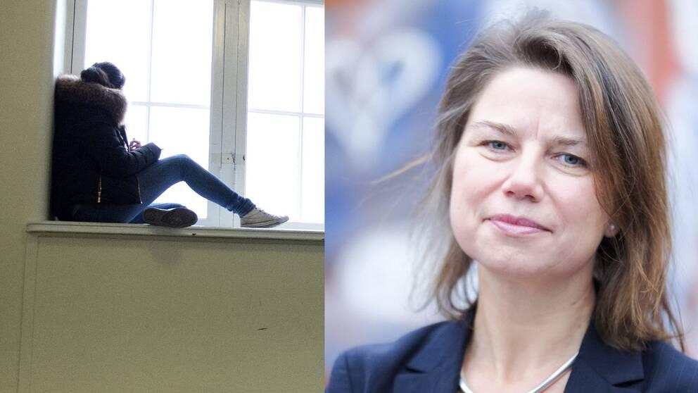 Ensam elev som sitter i ett fönster och barnpsykolog Malin Gren-Landell.