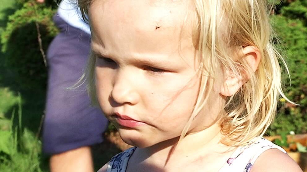 Julia 4 år berättar att myggorna anfaller när hon ska gunga
