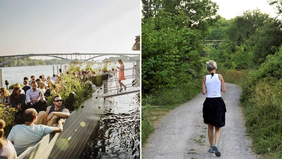 Bild på uteservering vid vattnet i Stockholm och kvinna som går på en landsväg.