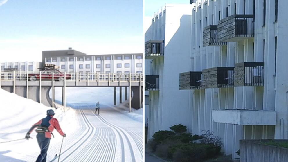 dubbelbild: skidåkare i skidspår under vägbro med hotell i bakgrunden, hotellfasad med nya balkonger