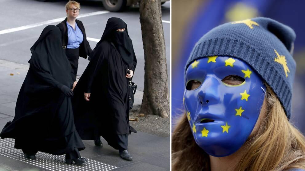 Två kvinnor i niqab som går på gatan samt en kvinna som täckt ansiktet med en EU-mask och mössa.