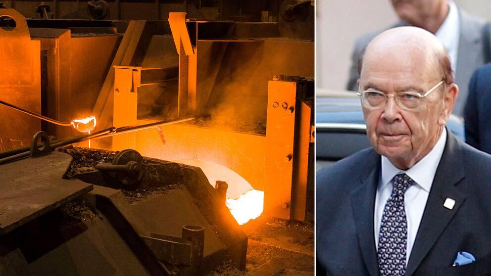 Stålfabrik i Tyskland och USA:s handelsminister Wilbur Ross