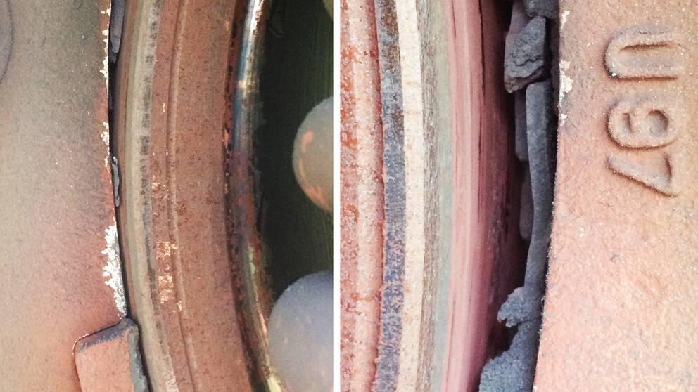 Två närbilder på tågbromsar där bromsbeläggen är förstörda.
