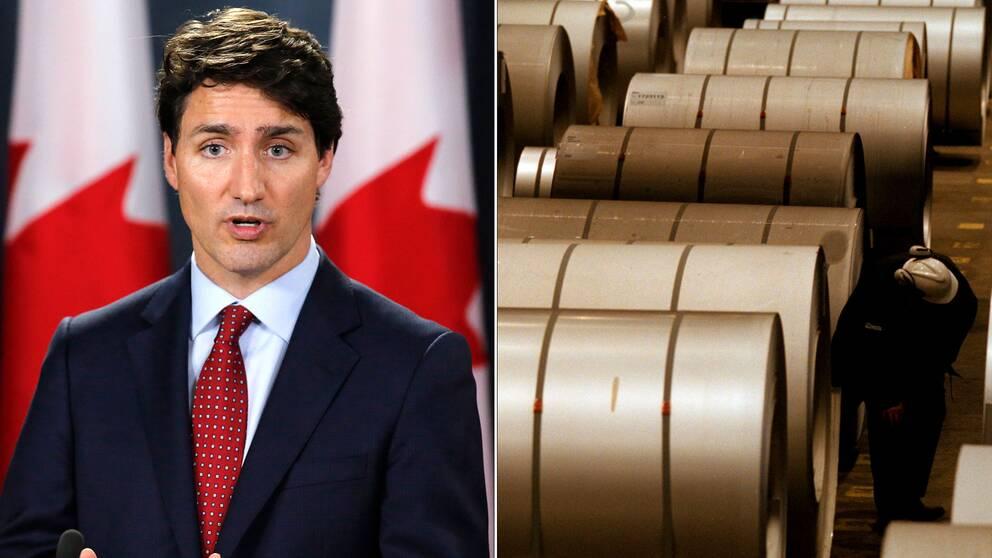 Kanadas premiärminister Justin Trudeau och stål