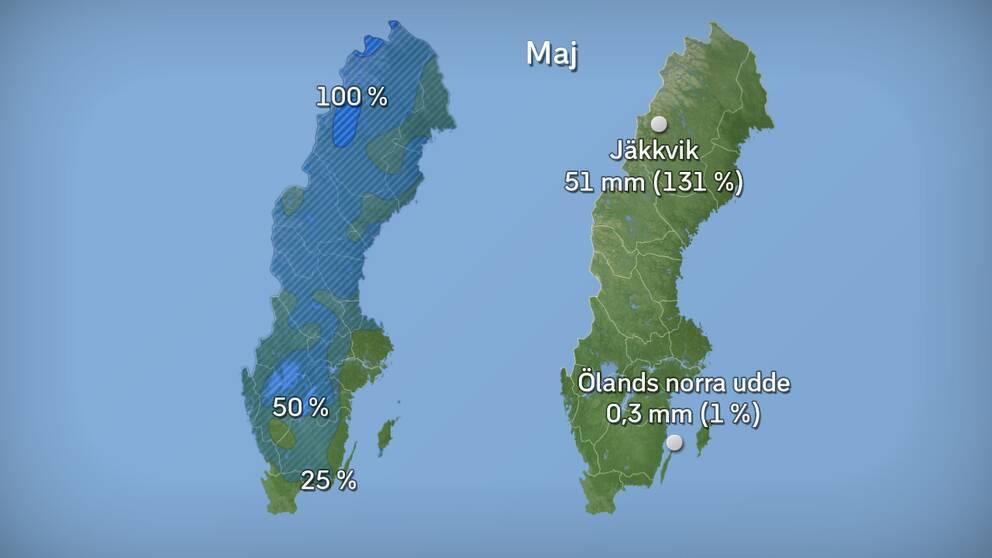 Till vänster månadens nederbördsmängder i procent jämfört med referensperioden 1961–1990. Till höger månadens högsta och lägsta nederbördsmängd, både i procent och millimeter räknat. Källor: SMHI och StormGeo.