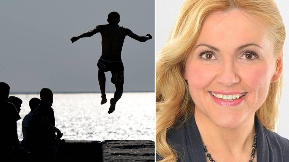 Man som badar och SVT:s meteorolog Deana Bajic.