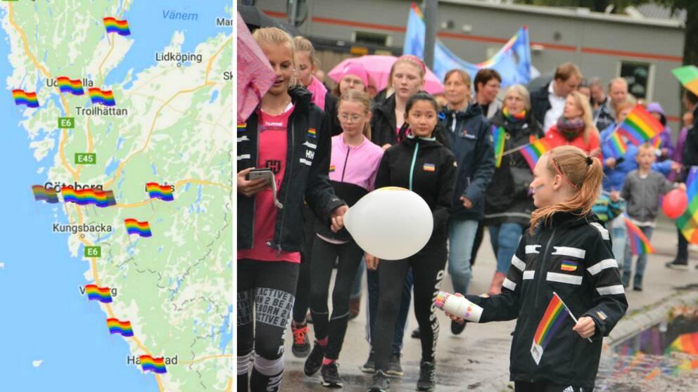 En karta över Västra Götaland och Halland med små regnbågsflaggor på varje ort som har en pridefestival i år. Bredvid den syns en bild från Mellerud Pride, med prideparaden, många unga personer går i den och bär regnbågsflaggor och ballonger.