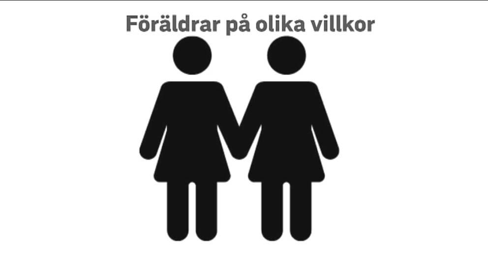 En bild på två tecknade kvinnor som håller varandra i handen