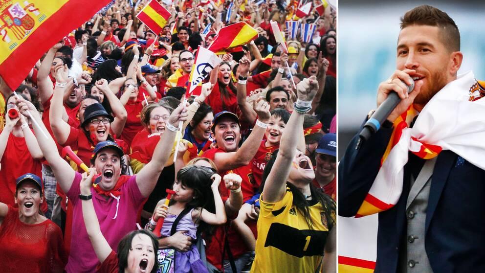 Sergio Ramos (till höger) har sjungit i Spaniens VM-låt inför mästerskapet i Ryssland