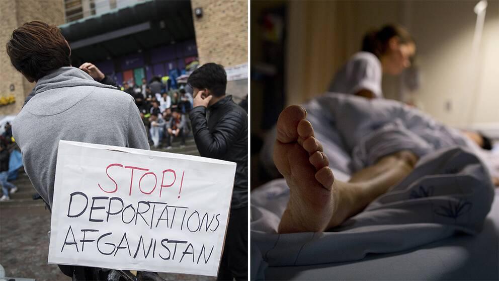 Ensamkommande under manifestation på Medborgarplatsen i Stockholm och en bild på en sjuksköterska.