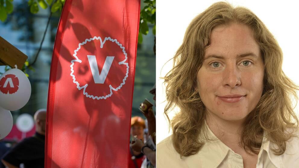 Ballonger och flaggor med Vänsterpartiets logga. Även bild på Emma Wallrup.