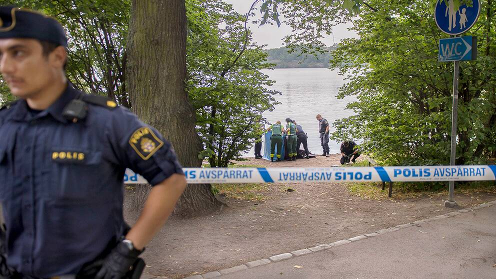 En polisavspärrning vid en drunkningsolycka.