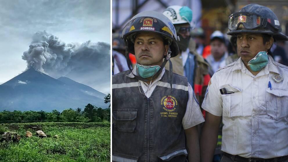 Brandmän i regionen jobbade på högvarv efter vulkanutbrottet som gjorde att över 3000 personer fick evakueras