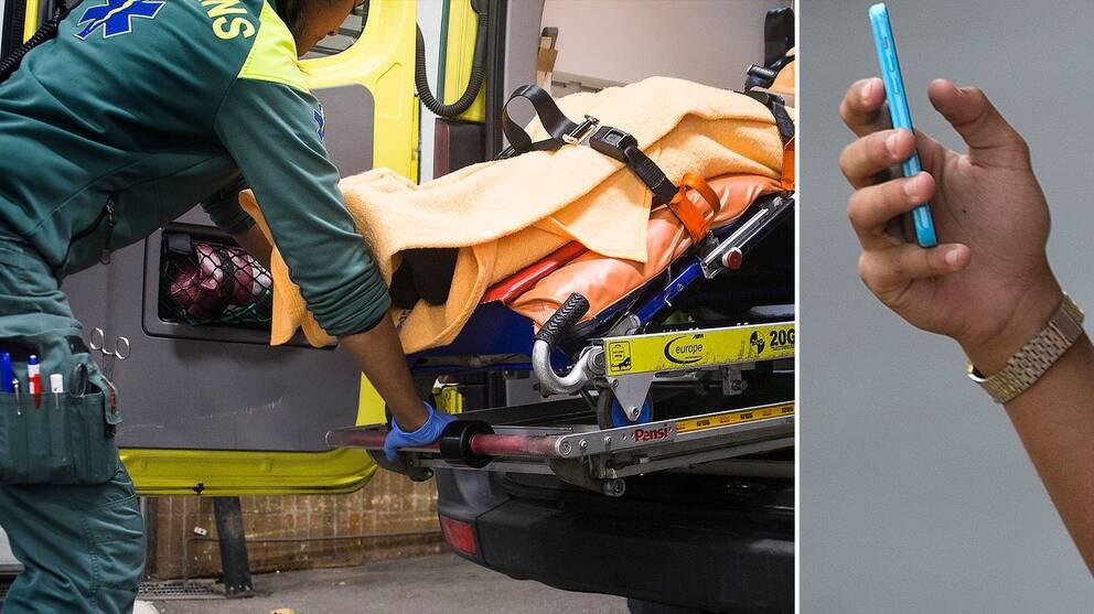 Ambulanspersonal och person som fotograferar