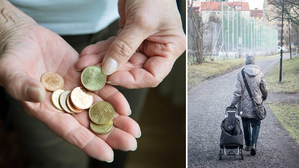 Delad bild: En på pengar och en på en äldre dam.