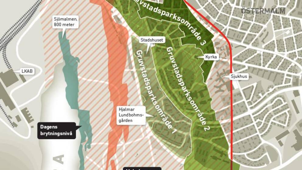 Karta över Gruvstadsparkområdet