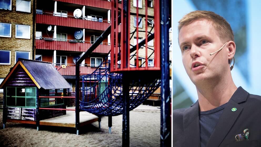Ett lekområde på en förskola i Sverige, där ska det inte råda några som helst tveksamheter om vad som gäller när det kommer till barns rättigheter och kläder, menar Gustav Fridolin (MP)