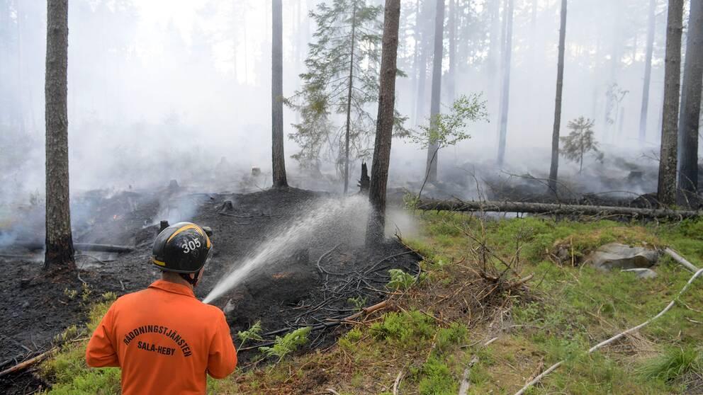 Brandman bekmåar branden i Ulvsbo