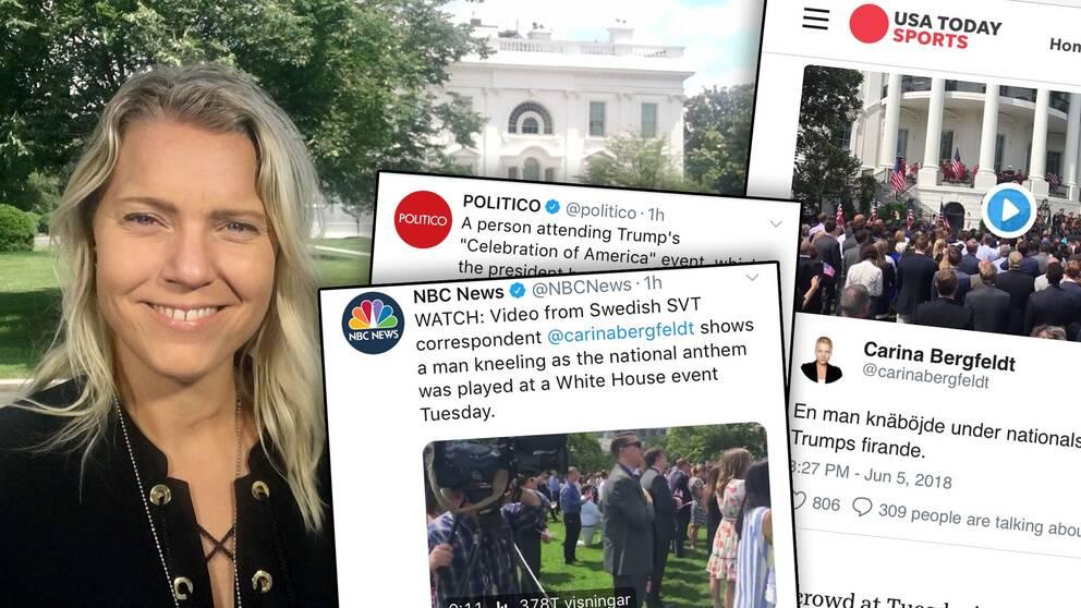 Carina Bergfeldt och några av medierna som plockat upp hennes film