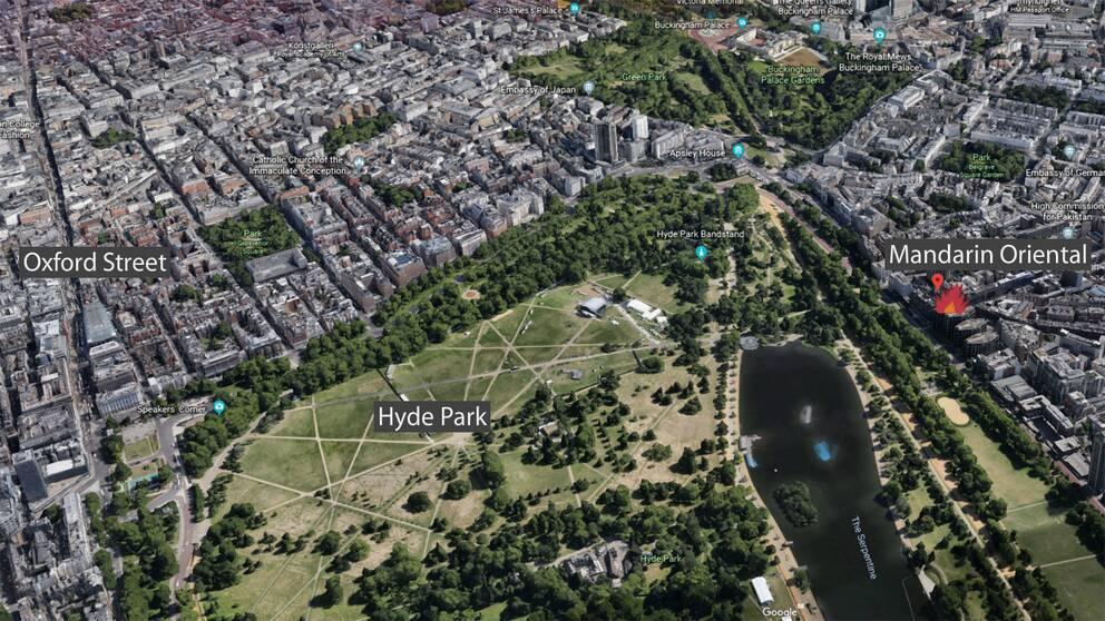 Mandarin oriental ligger centralt i London, nära det kända varuhuset Harrods och Hyde Park