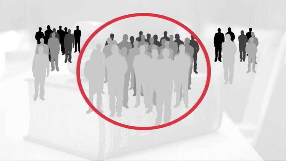 grafik som visar 30 personer i en grupp och 18 utanför.