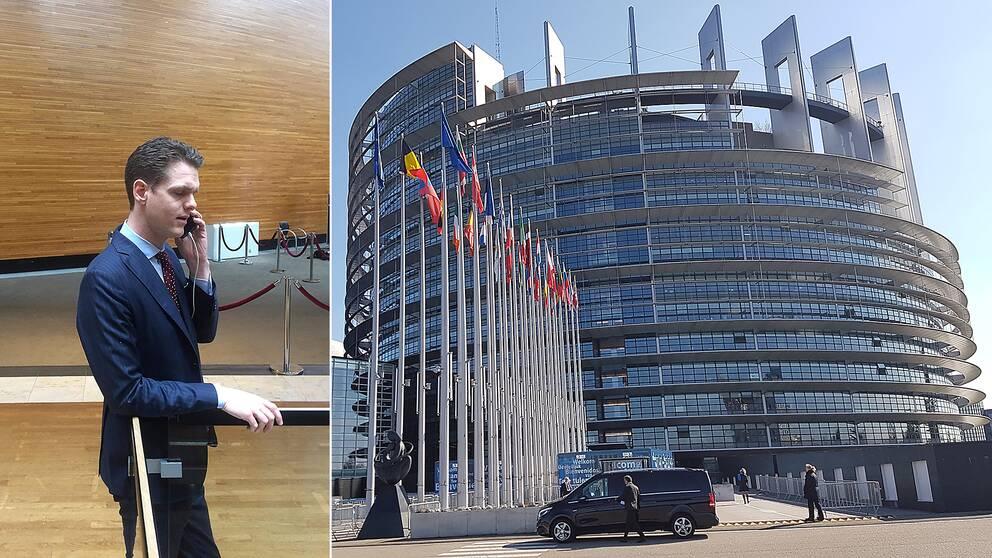 Christofer Fjellner, moderat EU-parlamentariker, i parlamentet i Strasbourg.
