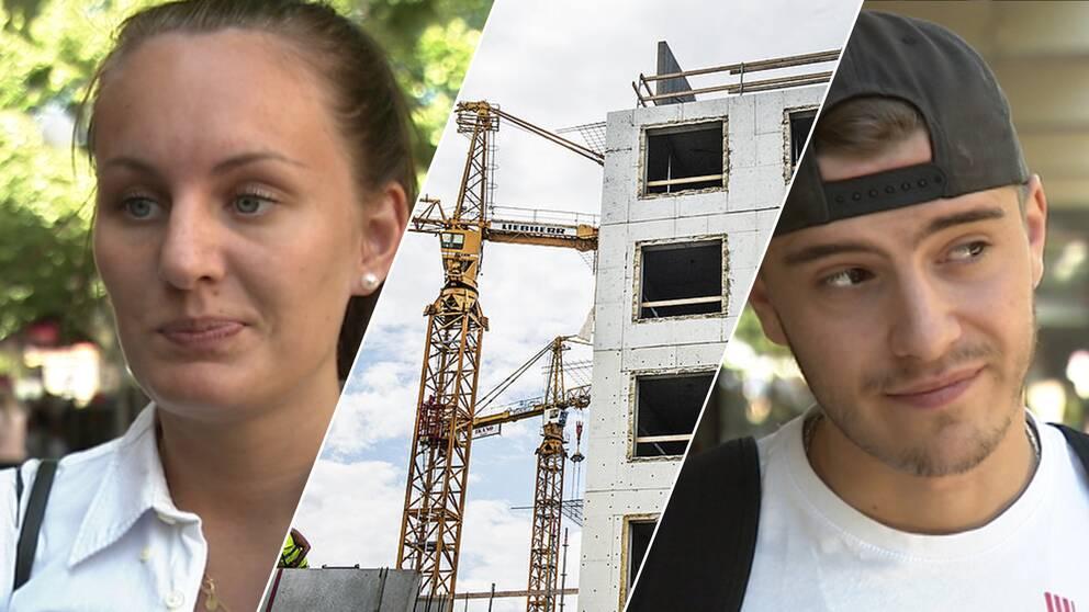Emelie Henriksson och Axel Fritz från Södertälje. I mitten ett hus som byggs.