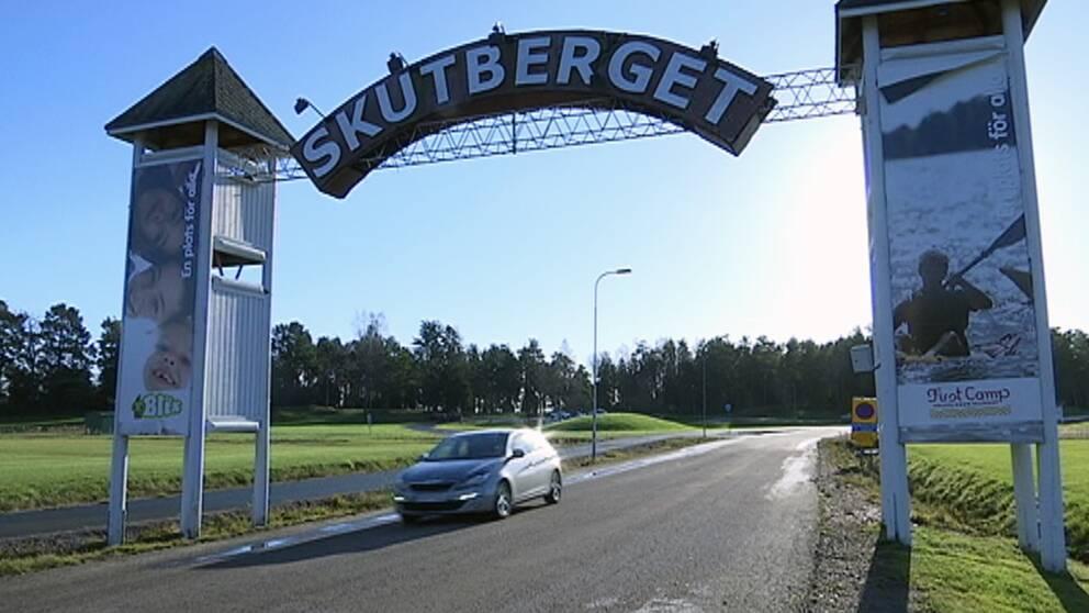 Entréskylt till Skutberget i Karlstad