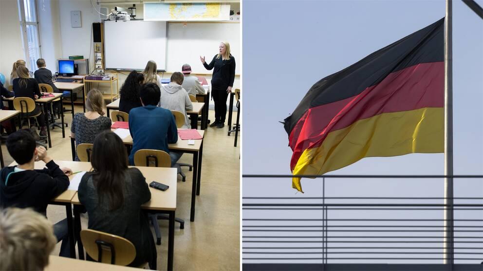 Elever i ett klassrum samt tyska flaggan.