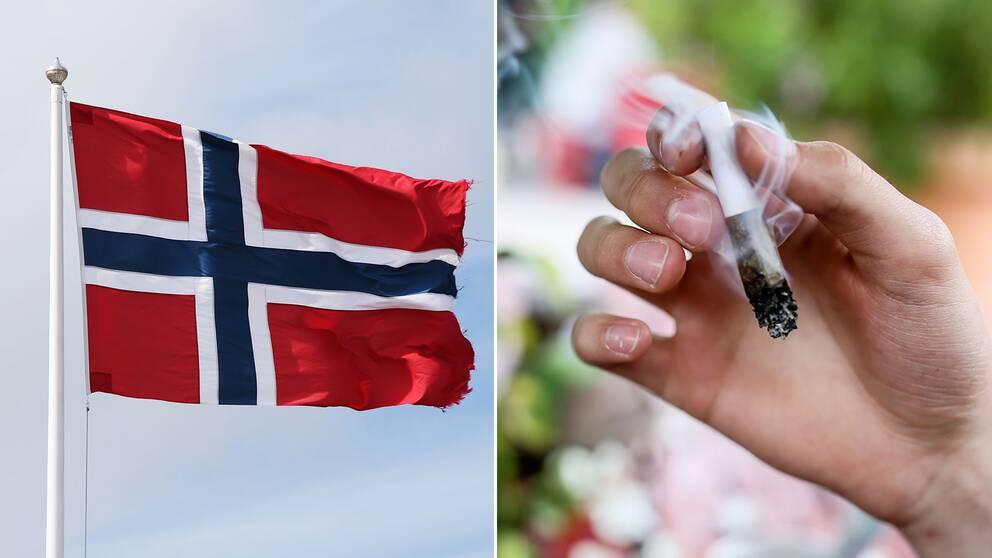 Norsk flagga och en joint.