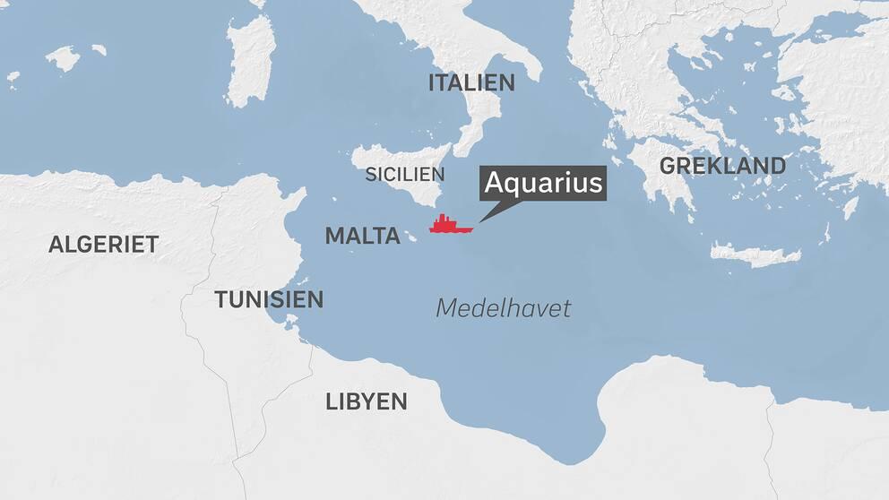Karta över Medelhavet där räddningsfartyget Aquarius befinner sig.