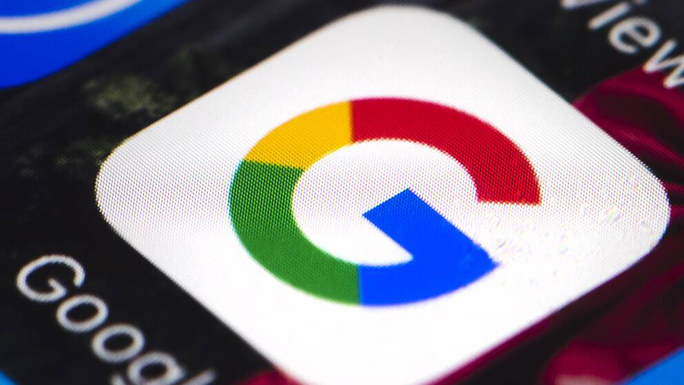 Google-logga från en mobiltelefon.