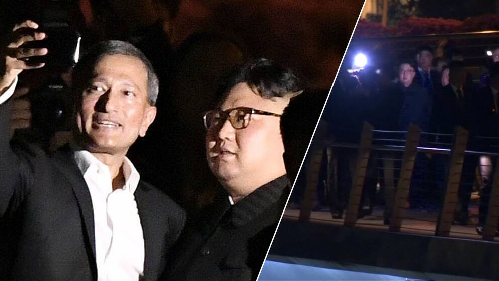 Singapores utrikesminister Vivian Balakrishnan och Nordkoreas ledare Kim Jong-Un.