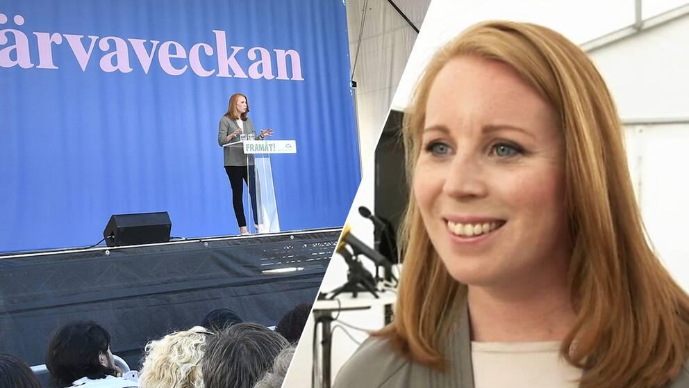 Centerpartiets partiledare Annie Lööf talar på Järvaveckan.