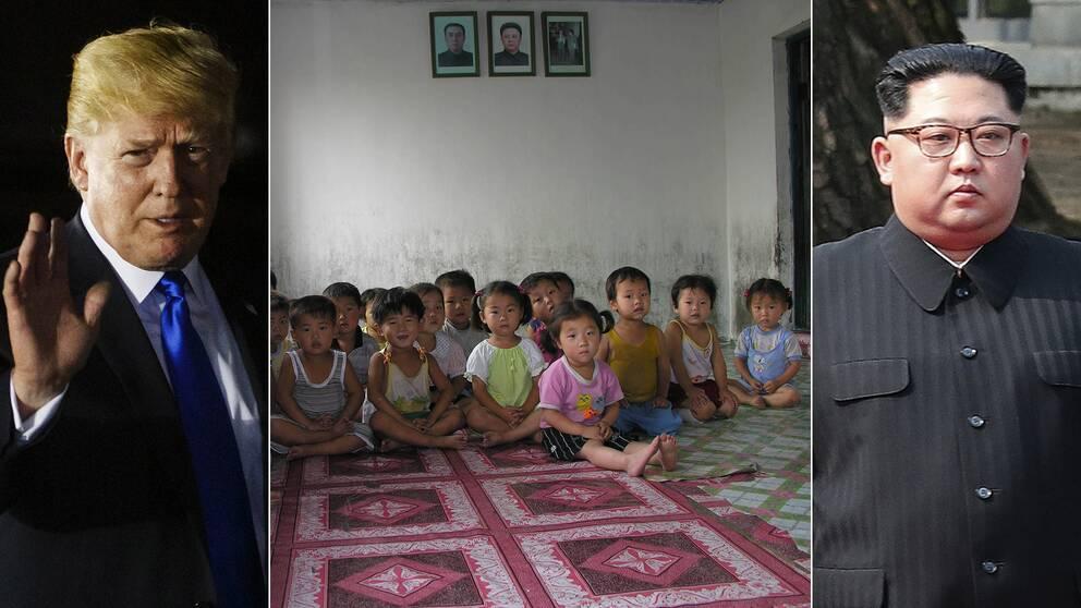 DOnald Trump, Kim Jong-Un och barn på statligt barnhem i Anju City, Nordkorea