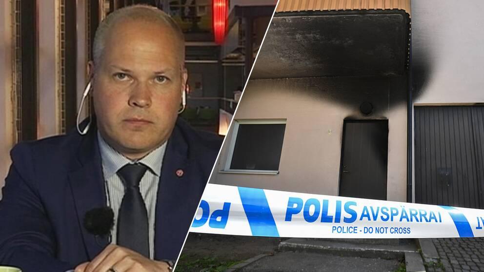 Justitie- och inrikesminister Morgan Johansson (S) och den brandhärjade bönelokalen på Finjagatan i Hässleholm.