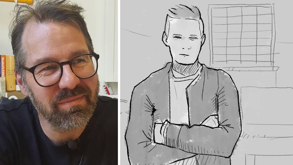 Martin Bergström, forskare på Lunds universitet, grafik på ung kille i fängelsecell