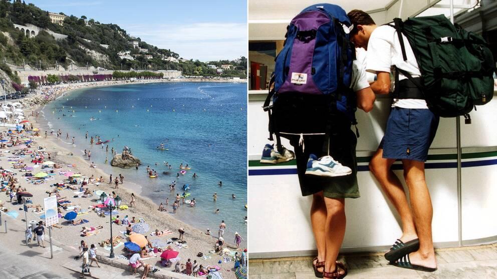 Bild från en strand, samt en bild på två personer som ska ut och tågluffa.