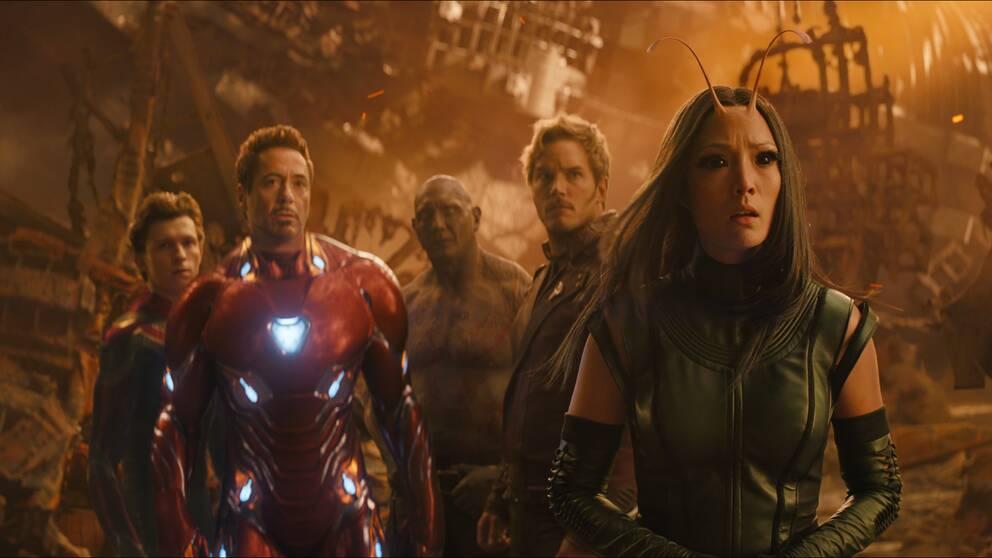 "Tom Holland (Spiderman), Robert Downey Jr. (Iron Man), Dave Bautista (Drax the Destroyer), Chris Pratt (Star-Lord) och Pom Klementieff (Mantis) i ""Avengers: Infinity War."""