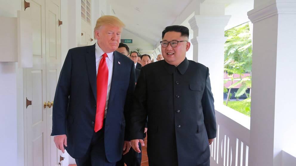 Donald Trump och Kim Jong-Un sida vid sida efter mötet i Singapore