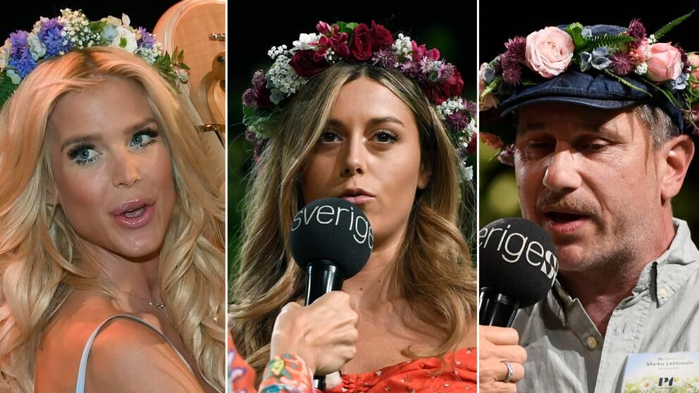 Victoria Silvstedt, Bianca Ingrosso och Marcoolio under presentationen av årets sommarvärdar i P1.