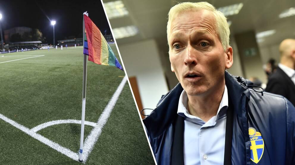 Kollage en Prideflagga och Håkan Sjöstrand.