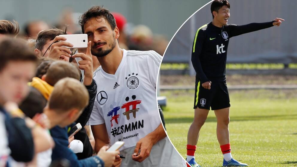 Tysklands Mats Hummels och Sydkoreas Son Heung-min.