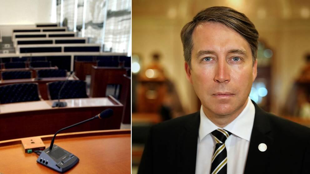 En tom plenisal Solnas stadshus samt Sverigedemokraternas partisekreterare Richard Jomshof.