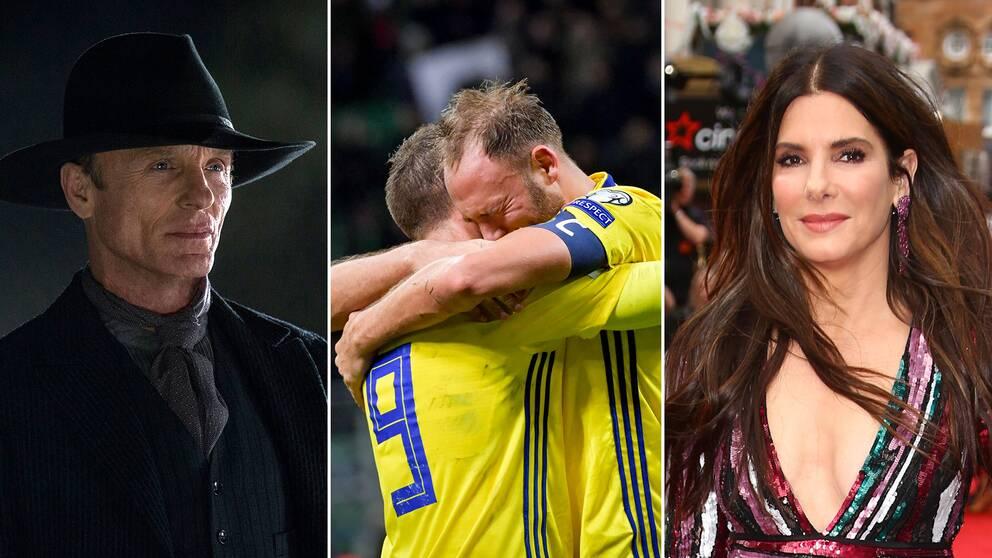 Westworld skådespelaren Ed Harris, fotbollsspelarna Marcus Berg och Andreas Granqvist och skådespelaren Sandra Bullock.