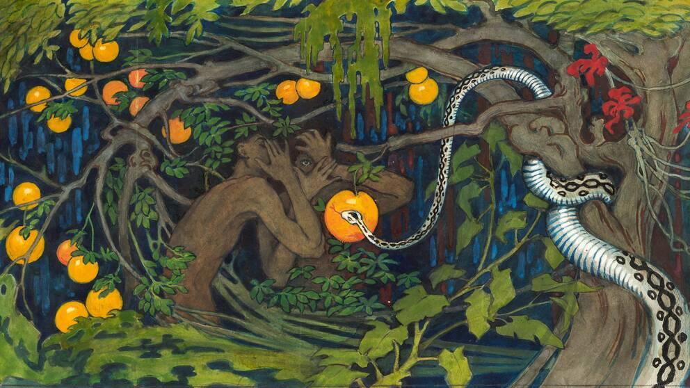 Förbjuden frukt, 1915, akvarell av Tyra Kleen.