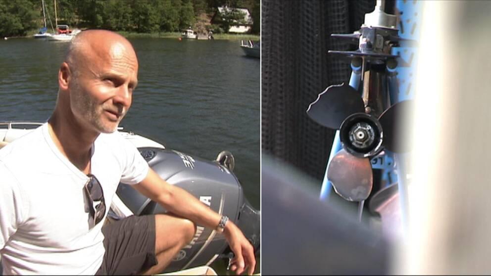 Till vänster en man i vit tröja som sitter i en båt vid vatten och till höger en motor med trasig propeller.